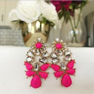 18k white gold pink drop earrings